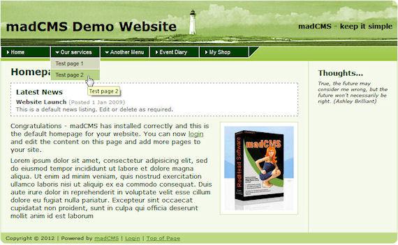 madCMS demo website